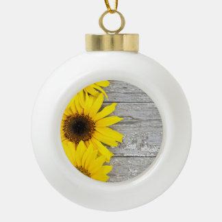 Sonnenblumen auf einer Tabelle Keramik Kugel-Ornament