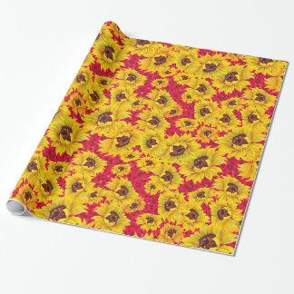 Sonnenblumen auf rotem geschenkpapier