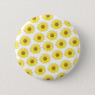 Sonnenblumen auf Weiß Runder Button 5,1 Cm