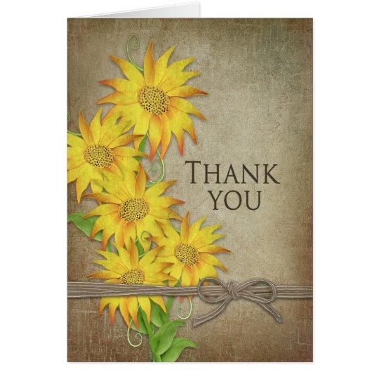 Sonnenblumen - danke - Brown-Beschaffenheit Mitteilungskarte