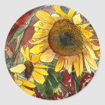 Sonnenblumen, die Kunstgeschenke malen Runder Aufkleber