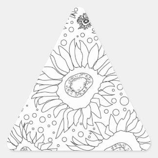Sonnenblumen, die Seite färben Dreieckiger Aufkleber