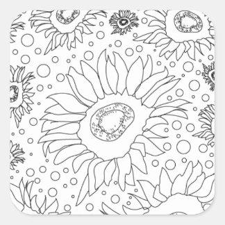 Sonnenblumen, die Seite färben Quadratischer Aufkleber