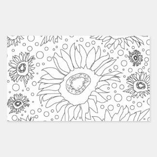 Sonnenblumen, die Seite färben Rechteckiger Aufkleber