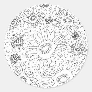 Sonnenblumen, die Seite färben Runder Aufkleber