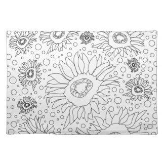 Sonnenblumen, die Seite färben Tischset