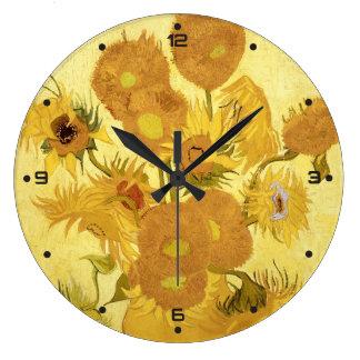 Sonnenblumen durch Vincent van Gogh Große Wanduhr