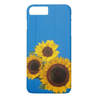 Sonnenblumen gegen blauen Zaun iPhone 8 Plus/7 Plus Hülle