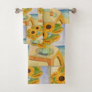 Sonnenblumen in einem Vase Badhandtuch Set