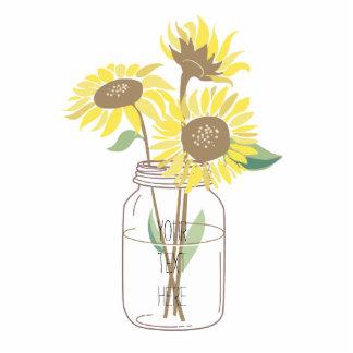 Sonnenblumen in einem Weckglas Fotoausschnitt