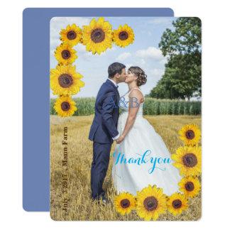 Sonnenblumen mit Ihrem Foto - danke 16,5 X 22,2 Cm Einladungskarte