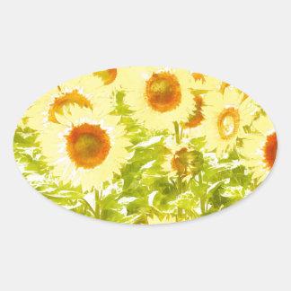 Sonnenblumen Ovaler Aufkleber