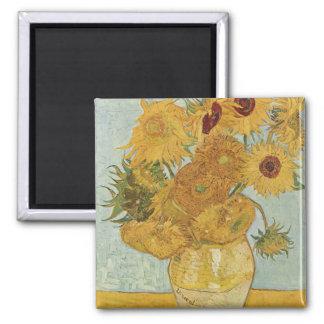 Sonnenblumen Quadratischer Magnet