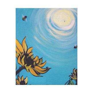 Sonnenblumen u. Bienen-Druck Leinwanddruck