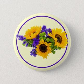 Sonnenblumen und blaues Statice Runder Button 5,1 Cm