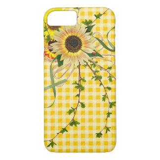 Sonnenblumen und Damenwanze auf ginham iPhone 8/7 Hülle