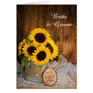 Sonnenblumen und Garten-Gießkanne-Hochzeit laden Karte