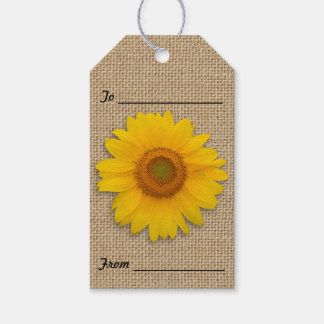 Sonnenblumen und Leinwand-rustikale Geschenkanhänger