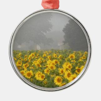 Sonnenblumen und Nebel Rundes Silberfarbenes Ornament