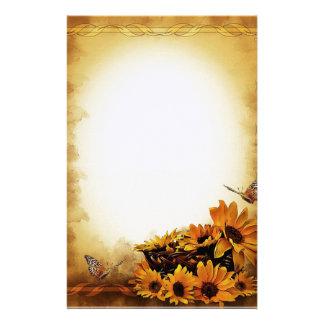 Sonnenblumen und Schmetterlinge Briefpapier