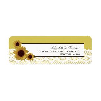 Sonnenblumen und Vintage Spitze-Hochzeit Rückversand-Adressaufkleber