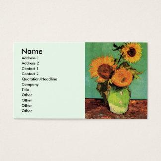 Sonnenblumen Van Gogh 3 in einer Vasen-Vintagen Visitenkarte