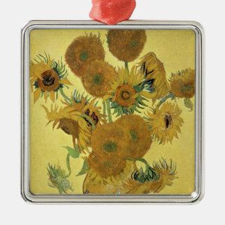 Sonnenblumen Vincent van Goghs |, 1888 Quadratisches Silberfarbenes Ornament