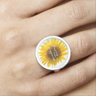 "Sonnenblumezitat ""Blumen sind Glück "" Ring"
