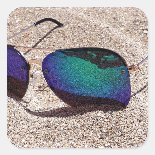 Sonnenbrille Quadratischer Aufkleber