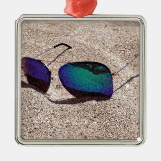 Sonnenbrille Quadratisches Silberfarbenes Ornament