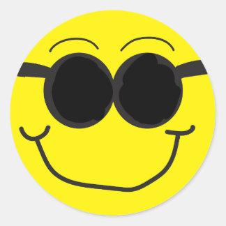 Sonnenbrille-Smiley-Aufkleber Runder Aufkleber