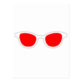 Sonnenbrille-weiße Kante-rote Linse der MUSEUM Postkarte
