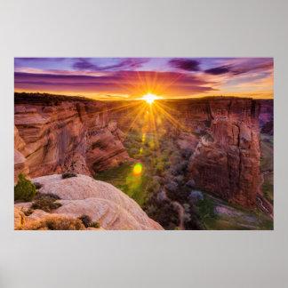 Sonnendurchbruch bei Canyon de Chelly, AZ Poster