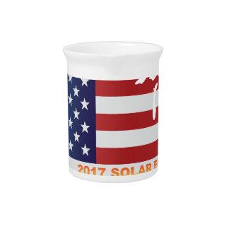 Sonnenfinsternis 2017 über USA-Karten-Illustration Krug
