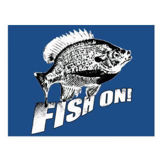 Sonnenfischfische an. Schwarzes Postkarte