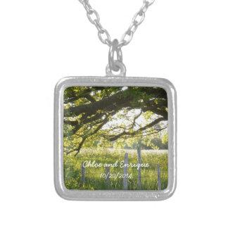 Sonnenlicht und Baum-personalisierte Hochzeit Halskette Mit Quadratischem Anhänger
