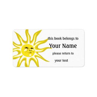 Sonnenschein-Buchzeichen-Aufkleber Adressaufkleber