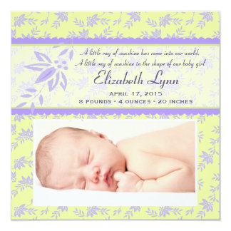Sonnenschein-Foto-Geburts-Mitteilung Quadratische 13,3 Cm Einladungskarte