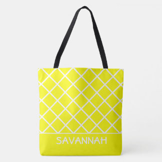 Sonnenschein gelb und weißes Gitter personalisiert Tasche