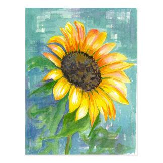 Sonnenschein-gelbe Sonnenblume-Aquarell-Malerei Postkarte