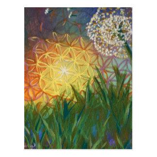 Sonnenschein-Löwenzahn-heilige Postkarte