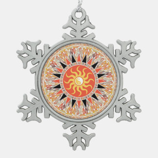 Sonnenschein-Mandala Schneeflocken Zinn-Ornament