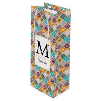 Sonnenschein-Türkis-Mandala-Fliesenmuster Geschenktüte Für Weinflaschen