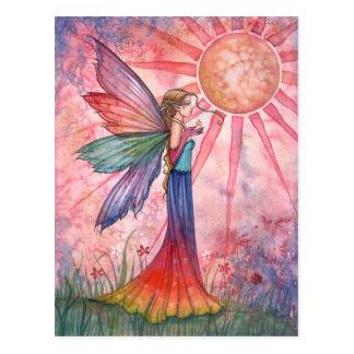 Sonnenschein-und Regenbogen-Fee-Postkarte Postkarte