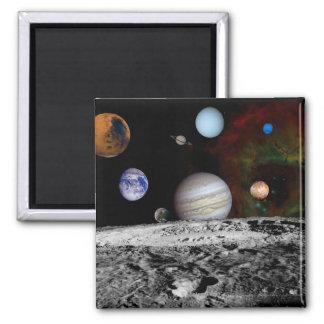Sonnensystem-Montage der Voyager-Bilder Quadratischer Magnet