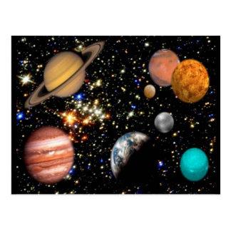 Sonnensystem-Planeten-Postkarte Postkarte