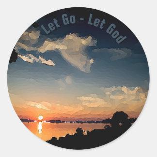 Sonnenuntergang 12-Step über Plattensee - Runder Aufkleber