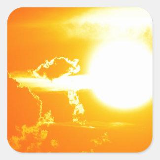 Sonnenuntergang 3 quadratischer aufkleber