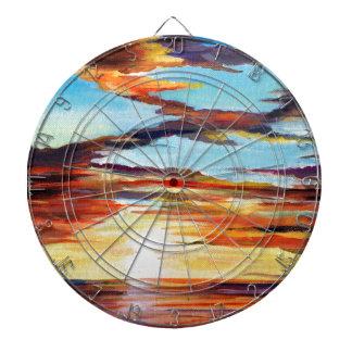 Sonnenuntergang-Acrylmalerei Dartscheibe