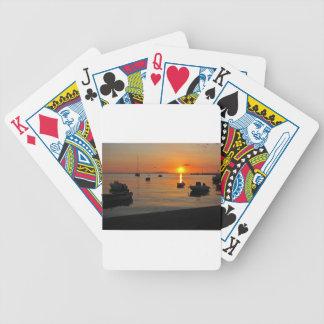 Sonnenuntergang am Hafen von Novalja n iKroatien Bicycle Spielkarten